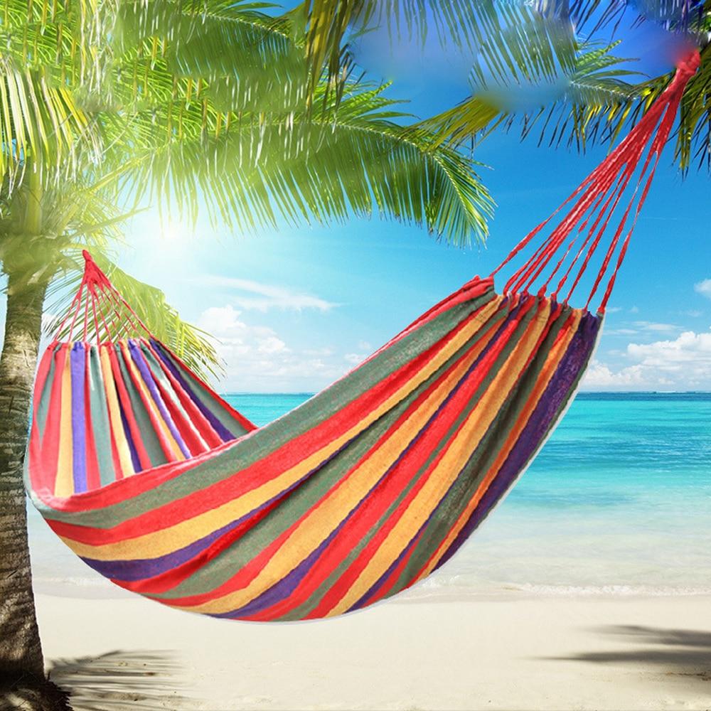 Bolsa de dormir portátil para acampar hamaca al aire libre hamaca jardín deportes hogar Camping columpio lona a rayas cama colgante hamaca