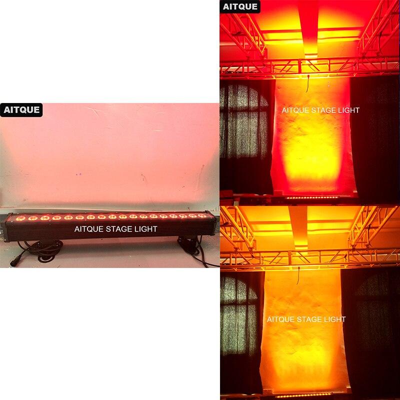 Luces led al aire libre pared quad led rgb bar dmx 18 piezas 12 w rgbwa ip65 LED lavado de pared Luz lámpara de exterior lineal 18x12 w