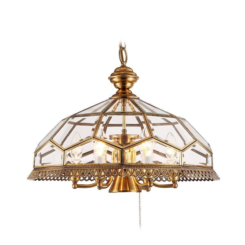 ¡Novedad! candelabro De 50cm con 6 cabezales, bola De cristal transparente, accesorios De cobre, lámparas moleculares De Techo con Lustre Led E14