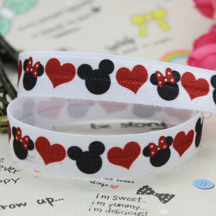 DHK 5/8 pulgadas 5 yardas pliegue sobre elástico FOE Mickey Minnie cinta impresa diadema diy decoración OEM venta al por mayor C452