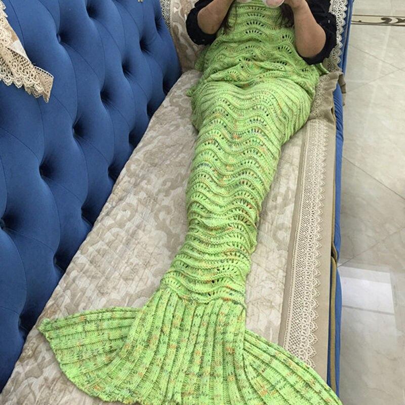 Manta a la moda con cola de sirena y aire acondicionado, manta de lana tejida de alta calidad para sofá, manta de siesta, regalo ideal para regalo