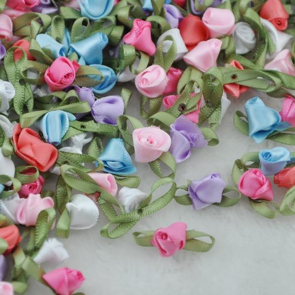 Lote de 80 unidades, lazo sofisticado con lazo de flores, rosa, apliques para costura de boda A213