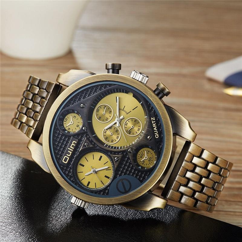 Oulm Antique Men's Luxury Wrist Watch Male Analog Quartz Clock Dual Time Zone Steel Watchband Military Golden Wristwatch