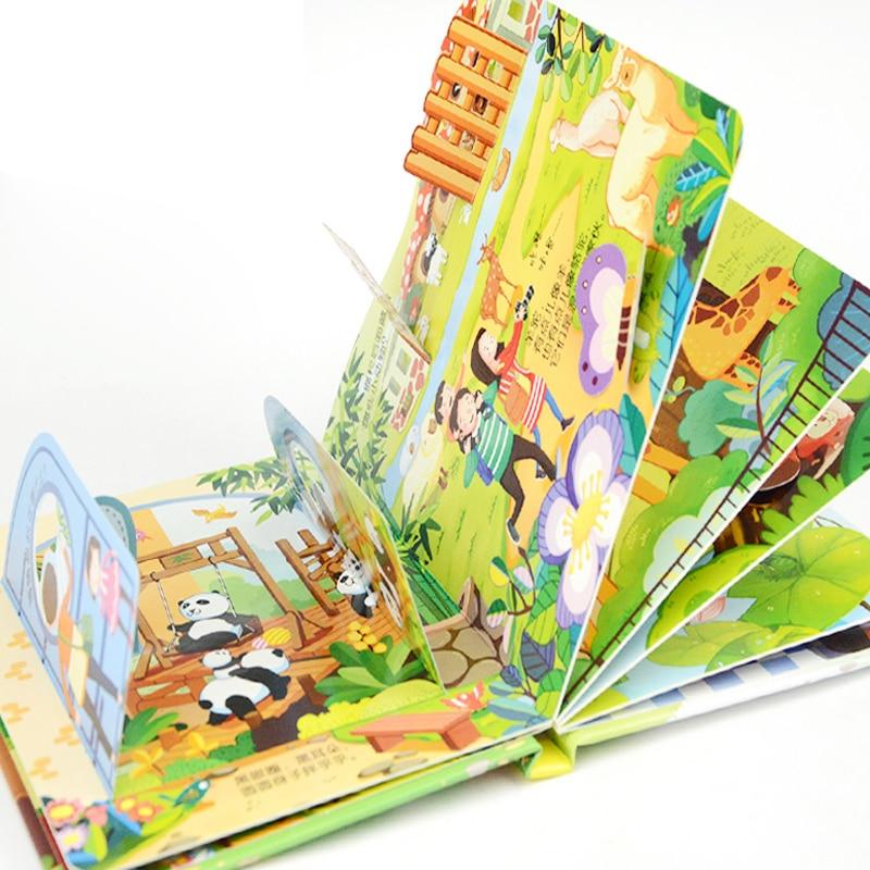 4pcs Children's story Early education enlightenment 3D stereo flip book Zoo/ kindergarten/amusement