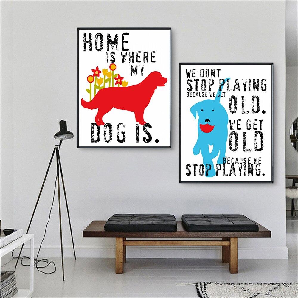 Animales acuarela mi perro frases para el hogar pintura de pared Cuadros...