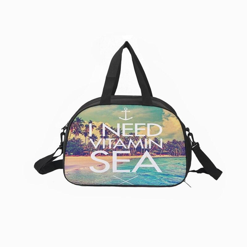Custom canvas men and women travel fitness bag waterproof large capacity printing sports bag landscape cool pattern 45*30*21cm