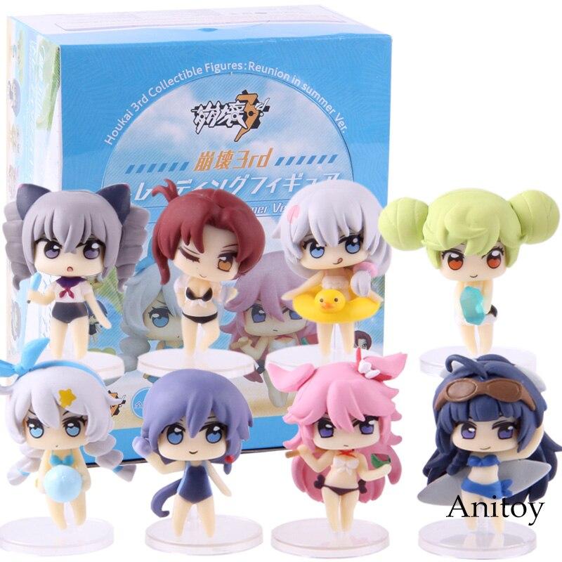 ¡MmiHoYo Honkai impacto Kiana Kaslana Raiden Mei Yae Sakura Houkai 3rd colección figuras reunión en verano Ver! PVC juguete 8 unids/set