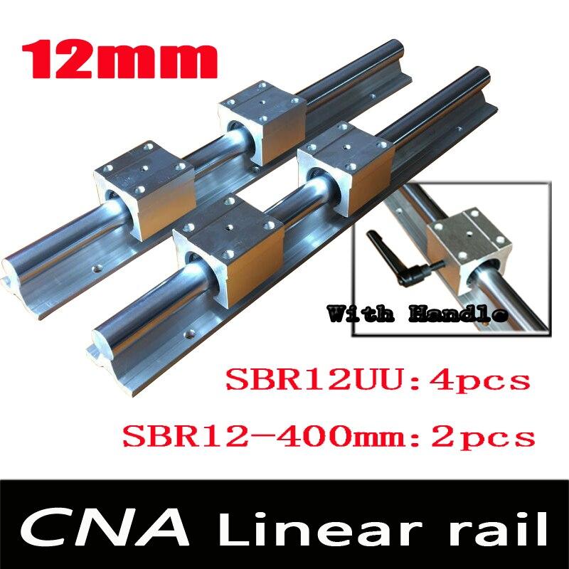 12 مللي متر خطي السكك الحديدية SBR12 L 400 مللي متر دعم القضبان 2 قطعة + 4 قطعة SBR12UU كتل ل CNC ل 12 مللي متر خطي رمح دعم القضبان