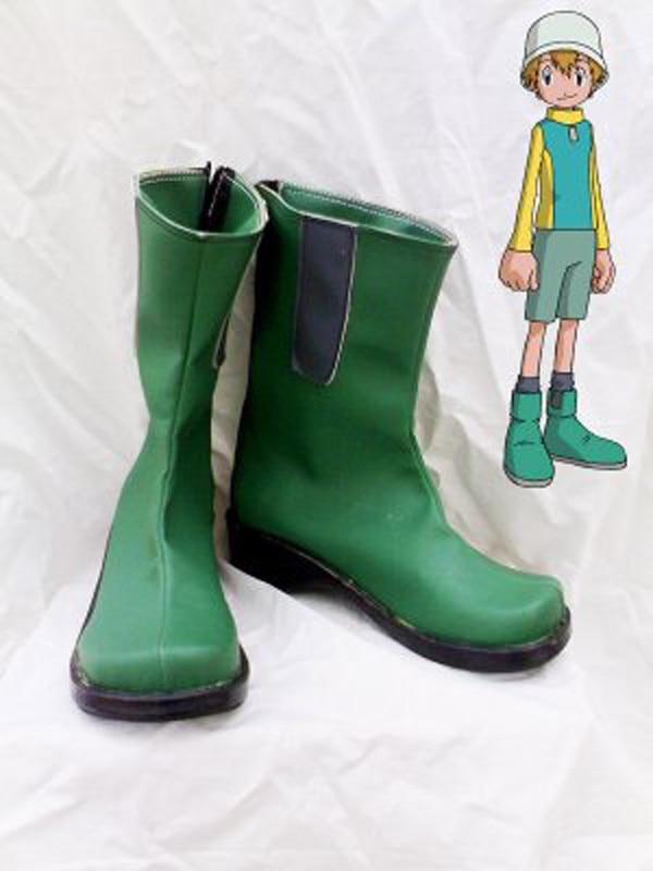 Digimon aventura takeru takaishi verde cosplay sapatos botas para adulto festa de halloween dos homens botas cosplay feito sob encomenda