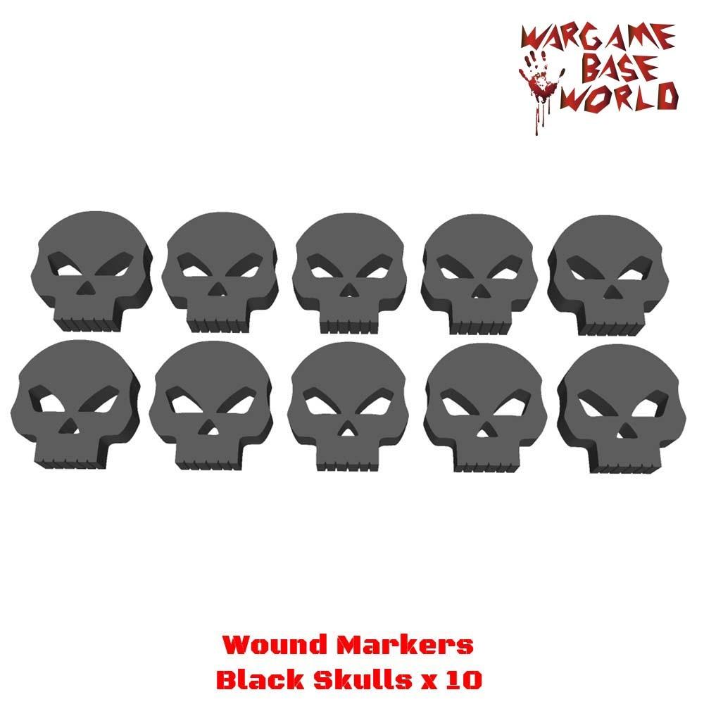 Marcadores de heridas mundial Base Wargame, calaveras acrílicas negras
