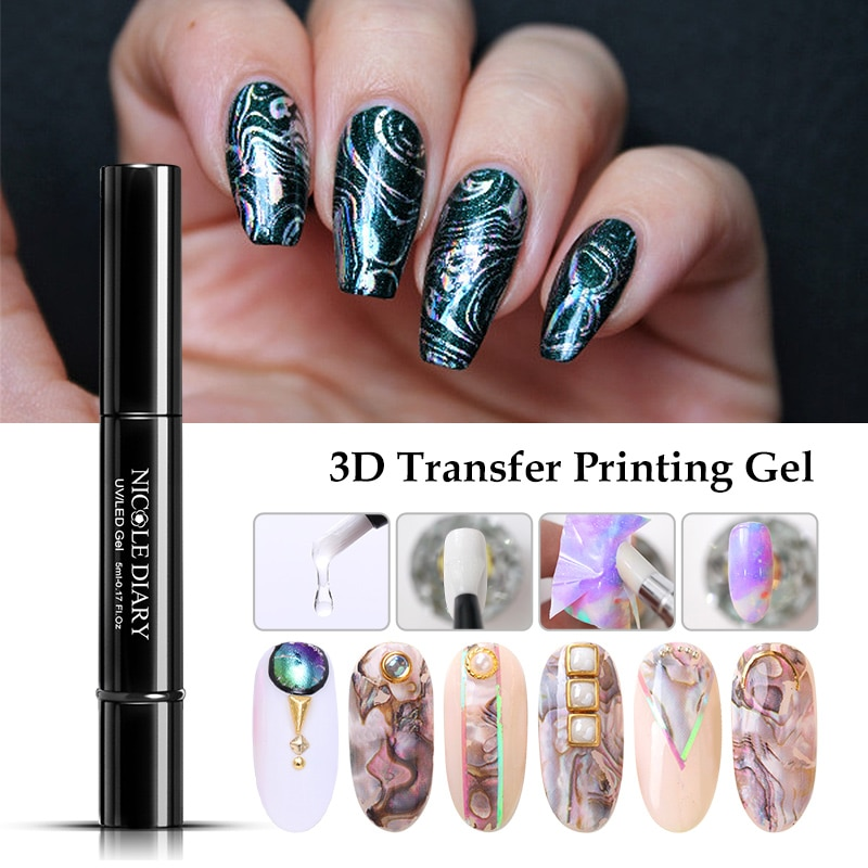 NICOLE DIARY Nail Foil Adhesive Transfer Gel Glue Holograph Sticker Polish Set 10ml Free sparkly Pap