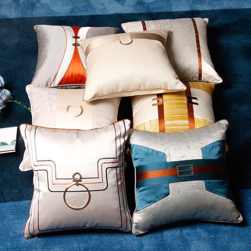 Home Decorative Sofa Throw Pillows High-end villa living room sofa hug pillowcase home store cushion cover waist pillowcase