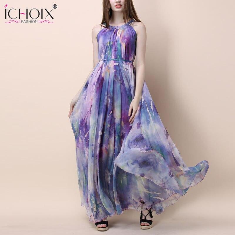 Vestido largo Vintage de verano para mujer, vestidos largos sexis sin mangas con estampado Floral a la moda, vestido elegante hasta el suelo de fiesta bohemio