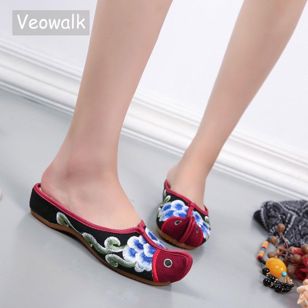 Veowalk, zapatillas planas de algodón y lino con punta en la nariz de diseño Vintage, zapatillas informales de verano para mujer, cómodas zapatillas de lona hechas a mano