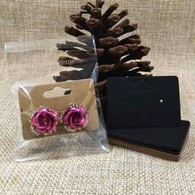 5*3.5cm blank brown/black Stud earring card custom logo cost extra Jewelry Display earring packing Card 100pcs+100plastic bag
