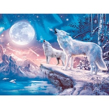 "5D Diamond Painting Full Display Diamond Embroidery ""White wolf ""Cross Stitch Rhinestones Decor Home Gift CNN"