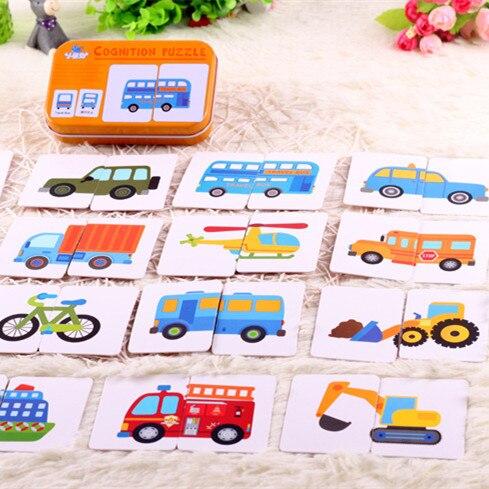 Gráfico juego chico temprano Montessori juguetes educativos rompecabezas Tarjeta de dibujos animados Vehículo de aprendizaje bolsillo tarjeta Flash MG09