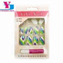 12 Pcs/Box Fake Nails With 2g Glue UV Gel Art Decorations False Nails Decoracao De Unhas Nail Art Full Cover Nails Tips