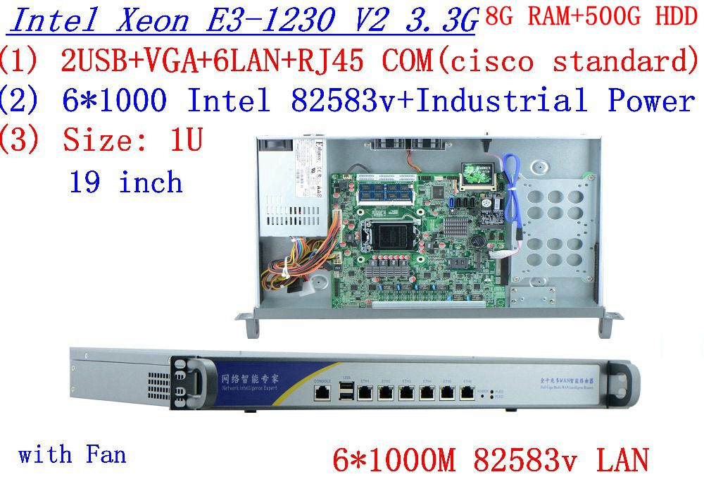 Routeros winbox 1U servidor con seis intel PCI-E 1000 M 82583 V Gigabit LAN Inte Quad Core Xeon E3-1230 V2 3,3 Ghz 8G RAM 500G HDD