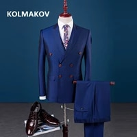 jacketpantsvest 2019 spring new england style double breasted suit casual men suit slim fit gentlemanly style wedding suits