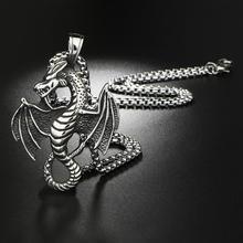Nie Verblassen Edelstahl Anhänger Halskette Kreuz Engel Drachen Coole Vintage Choker Schädel Gothic Flügel Skeleton Schädel OBSEDE