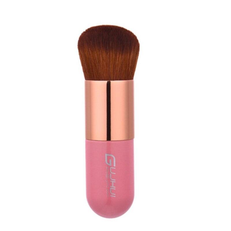 GUJHUI 1 pc Portable professionnel maquillage rond plat Blush brosse visage poudre fond de teint outil cosmétique rose doré