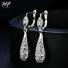 العتيقة جوفاء كارفن نمط المشبك استرخى أقراط للنساء الفضة اللون Vintage مجوهرات HotSale عيد الميلاد هدية E788