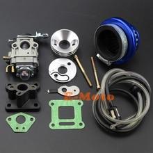 Карбюратор карбюратор, Синий воздушный фильтр, набор для сбора стека с топливной леской для 43cc 47cc 49cc Pocket Bike Super Razorback Boreem Minimoto ATV