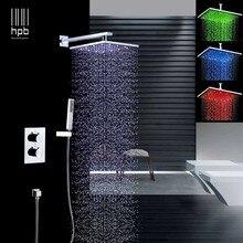 HPB, luz led de lluvia de 2 vías y 3 colores, 8 pulgadas, conjuntos de grifo de ducha cuadrados, juegos de ducha mezclador completo con válvula termostática H9
