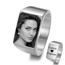 Anneaux sur mesure graver nom Photo Logo anneau en acier inoxydable rond hommes chevalière anneaux cadeaux personnalisés