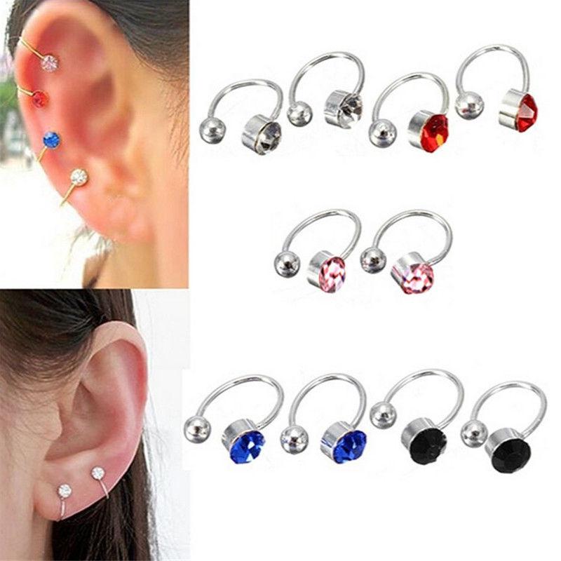 6 Colors 2 Pcs/lot Fashion Jewelry Fake Piercing Ear Clips Ohrringe Girl Gift Clip On Earrings For Women Rhinestone Ear Cuff