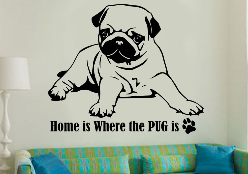 Póster 3d de Pug dog, pegatinas de vinilo impermeable desprendible para pared, pegatinas de animales de decoración para el hogar, Vinilos Paredes, Mural A225