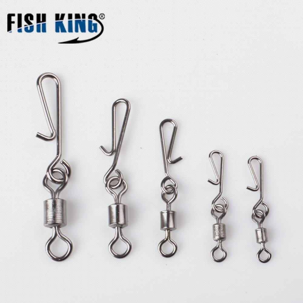 FISH KING Ball Bearing Fishing Swivel With Coast Look Snap Fishing Hook Lure Connector Terminal Fishing Tackle Size 2#4#6#8#10#