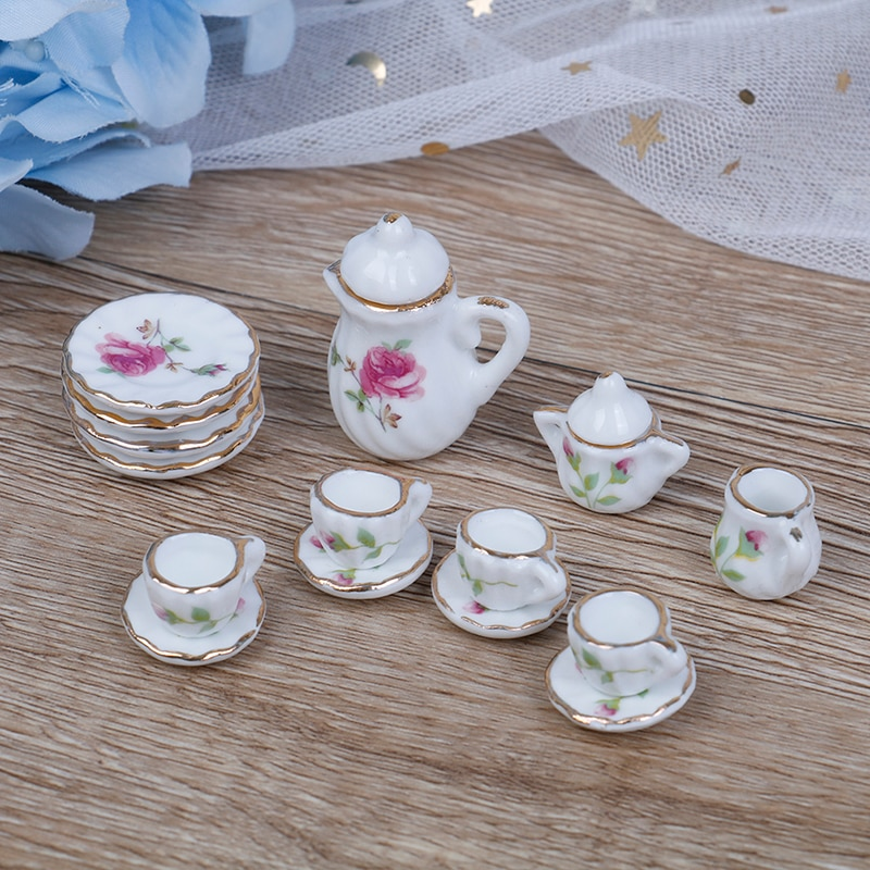 15PCS 1/12 מיניאטורות בית בובות ורוד פרח פאטן פורצלן קפה תה כוסות קרמיקה כלי שולחן בית בובות אבזרים