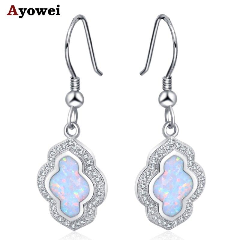 Ayowei cnarming925 silver stamped white fire opal drop earrings for girlfriends best gift OE781A