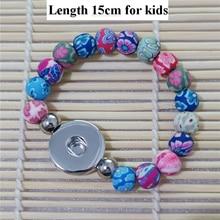 Enfants filles 18mm boutons pression à la main argile Fimo perles Bracelet 15cm longueur bijoux de mode