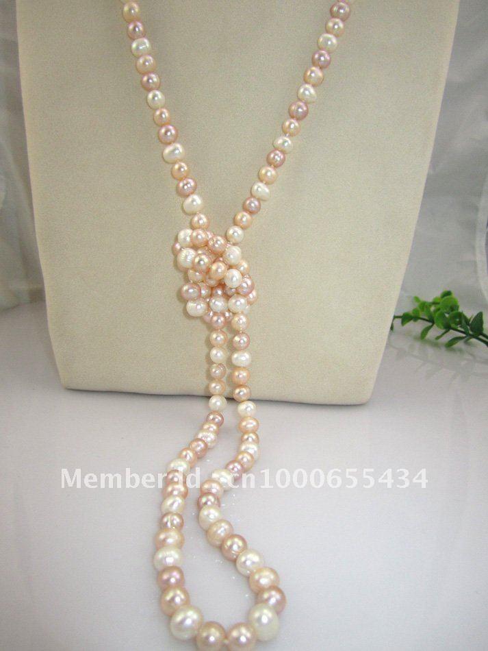 Frete grátis real de longo colar de pérolas de água doce pérola camisola multi cor pérola jóias da moda jóias 7-8 MM 120 CM