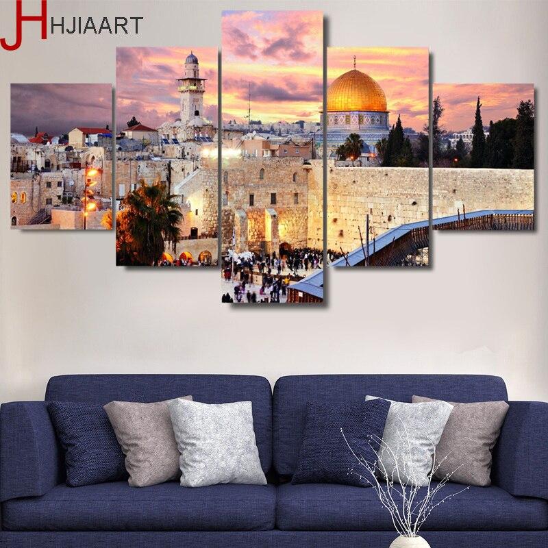 Pintura lienzo pared imagen modular artística cuadro moderno para decoración del hogar 5 paneles Jerusalén atardecer paisaje HD carteles impresos