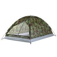 Недорогая палатка камуфляжного цвета.