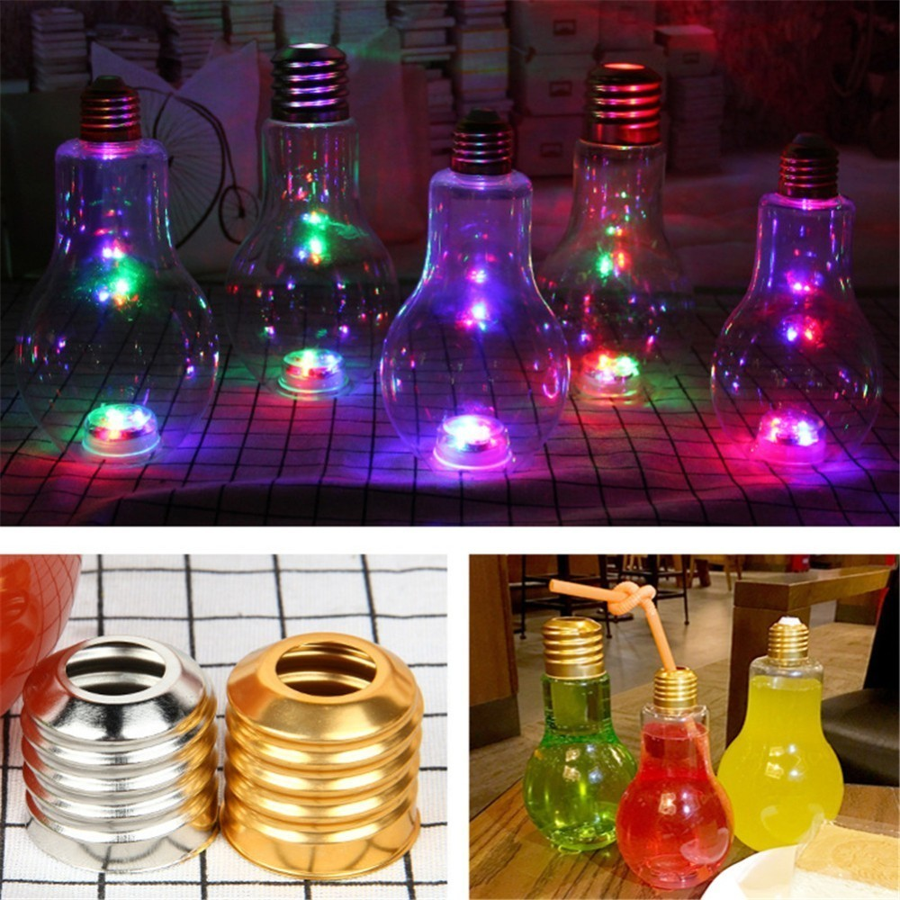 Botella de agua de bombilla de verano innovadora portátil botellas para jugo de frutas exprimidor lindo botella de agua de leche colorida Luz de bebida