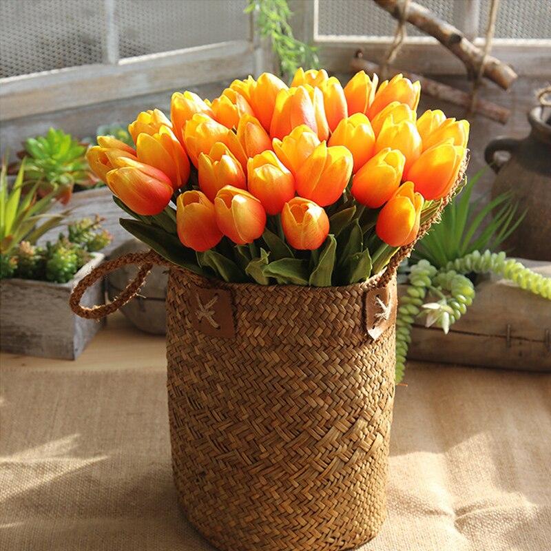 31 unids/lote Real toque flores artificiales tulipanes PU Tulip ramo para la boda fiesta en casa decoración de flor falsa regalo Día de la madre