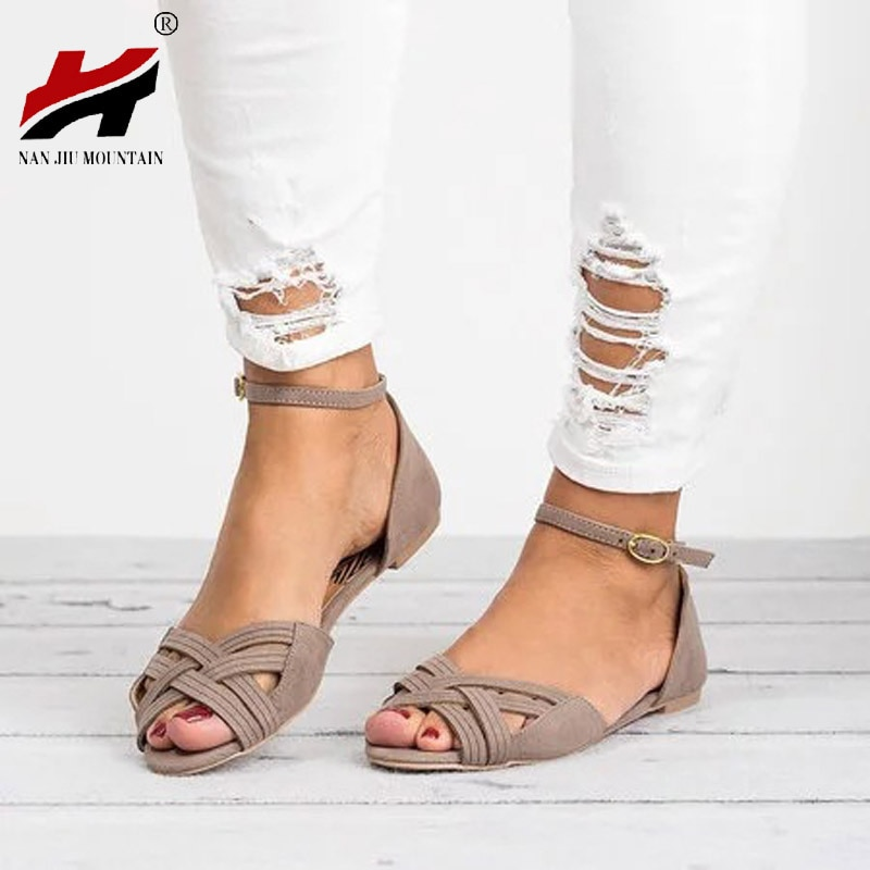 NAN JIU MOUNTAIN 2018 Summer New Shoes Woman Open toe One-Strap Belt Wraps Cross-Knit Flat Women's Sandals Plus Size 34-43