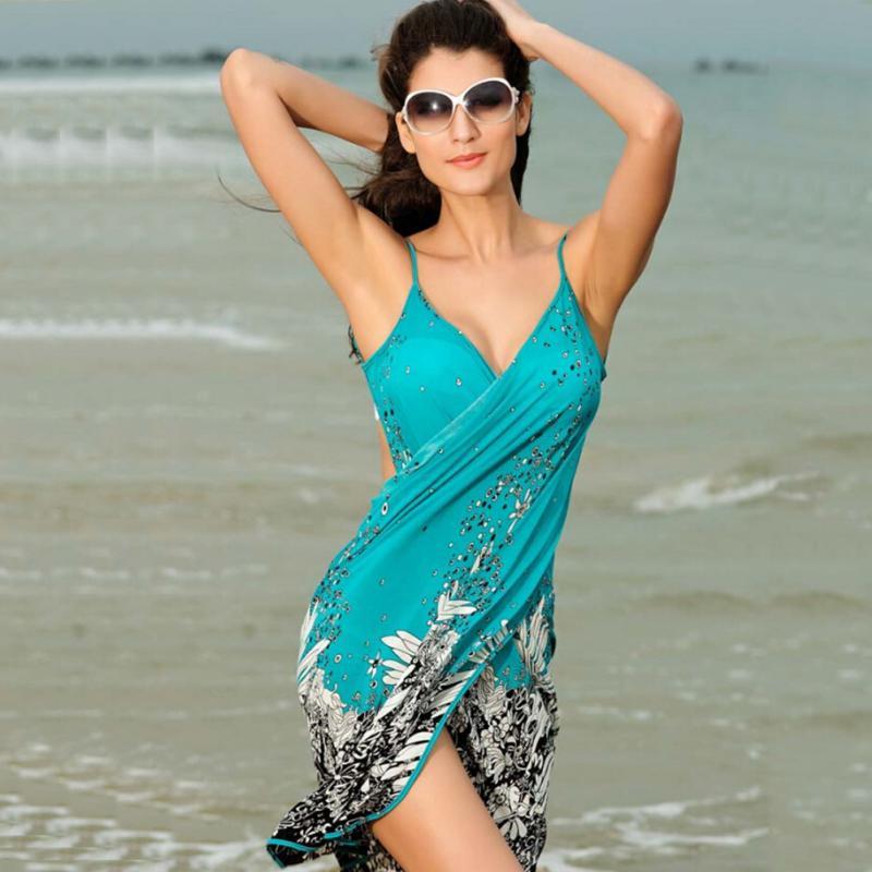 Verano Mujer Vestido de playa de poliéster Sexy Sling Beach Wear Sarong Bikini Cover-up Wrap Skirt bufanda chal Toalla de espalda abierta traje de baño