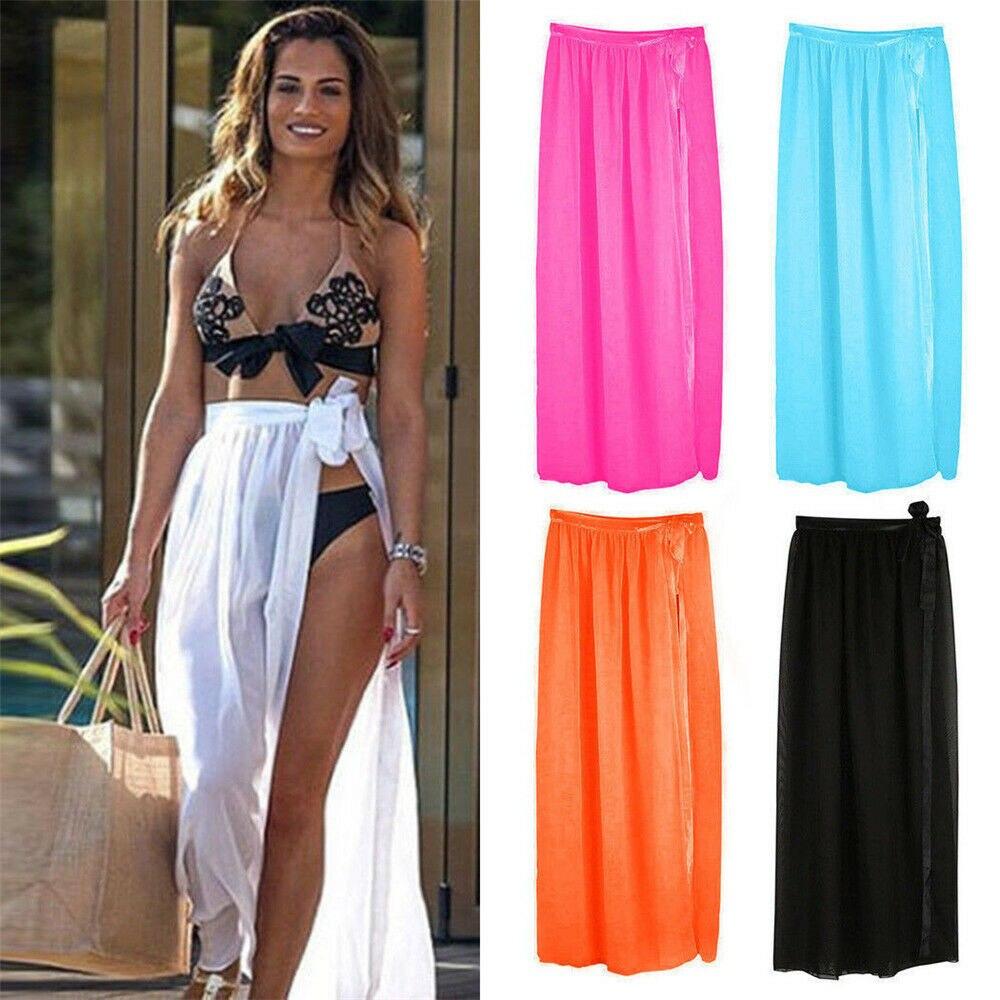 Ropa de baño para mujer, Pareo de Bikini transparente para playa, bañador envolvente, Maxi falda Sarong, protección de la luz del sol