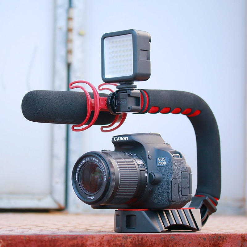 Soporte u-grip pro Triple Zapata DSLR rig 5D2 estabilizador de cámara portátil DV steadicam estabilizador de cámara de vídeo móvil smartphone
