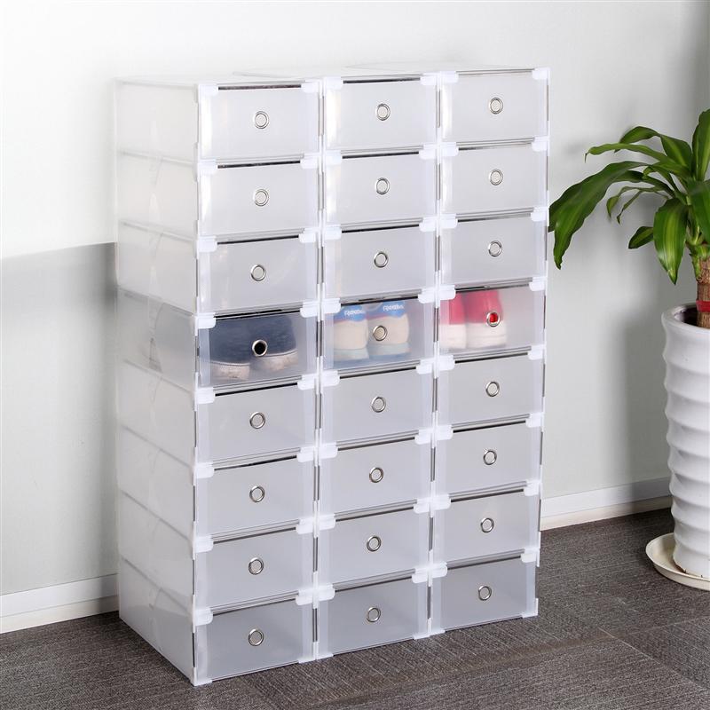 20PCS Transparent Shoe Box Storage Shoe Box Thickened Dustproof Shoe Organizer Box Stackable Combina