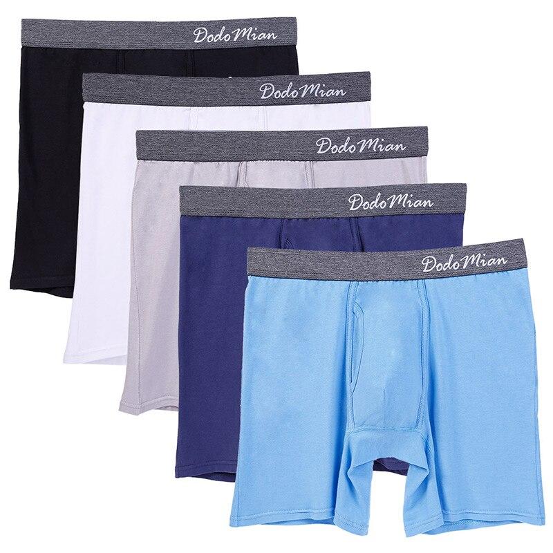 5 unids/lote Boxer largo para hombre con mosca de algodón ropa interior para hombre Boxers u-convexos suaves hombres Boxershorts hombre UE/EE. UU. Talla M L XL XXL