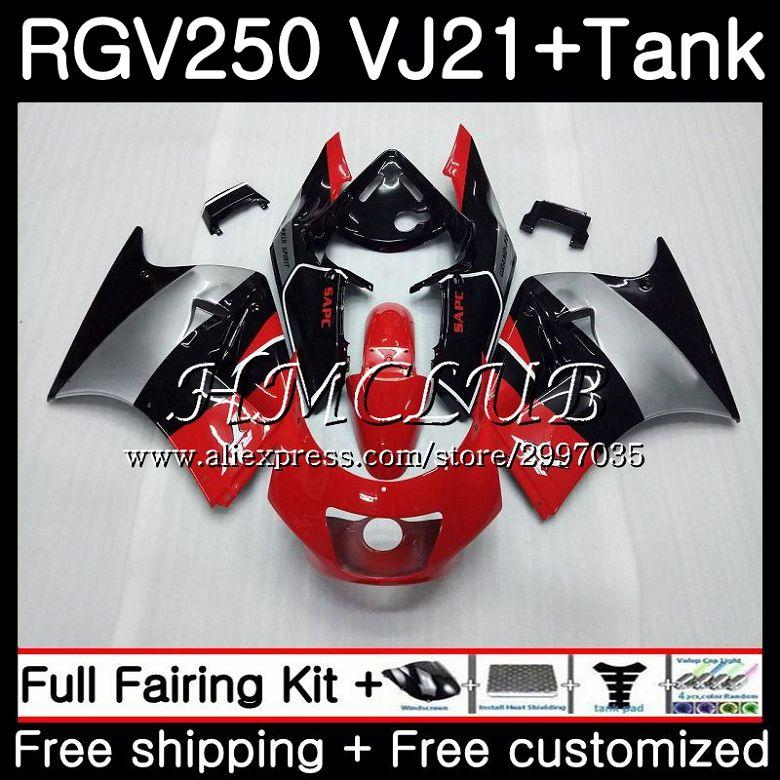 ¡Cuerpo Rojo Negro tanque caliente para SUZUKI VJ21 VJ22 VJ23 RGV250 1988 1989 41HC! 15 RGV-250 VJ 21 22 23 SAPC RGV 250 88 89 kit de carenado