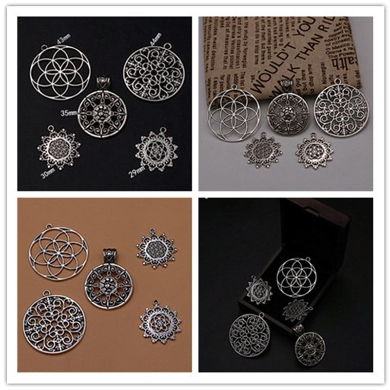 5 pçs cor de prata lote misto de comprimidos redondos pingentes liga moda colar pulseira diy jóias de metal charme artesanal a1165