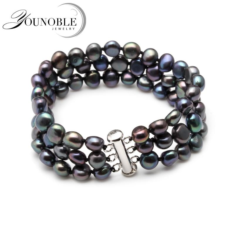 Weiß echt süßwasser schwarze perle armband frauen, multilayer natürliche perle armband schmuck tochter mädchen beste geschenk geburtstag